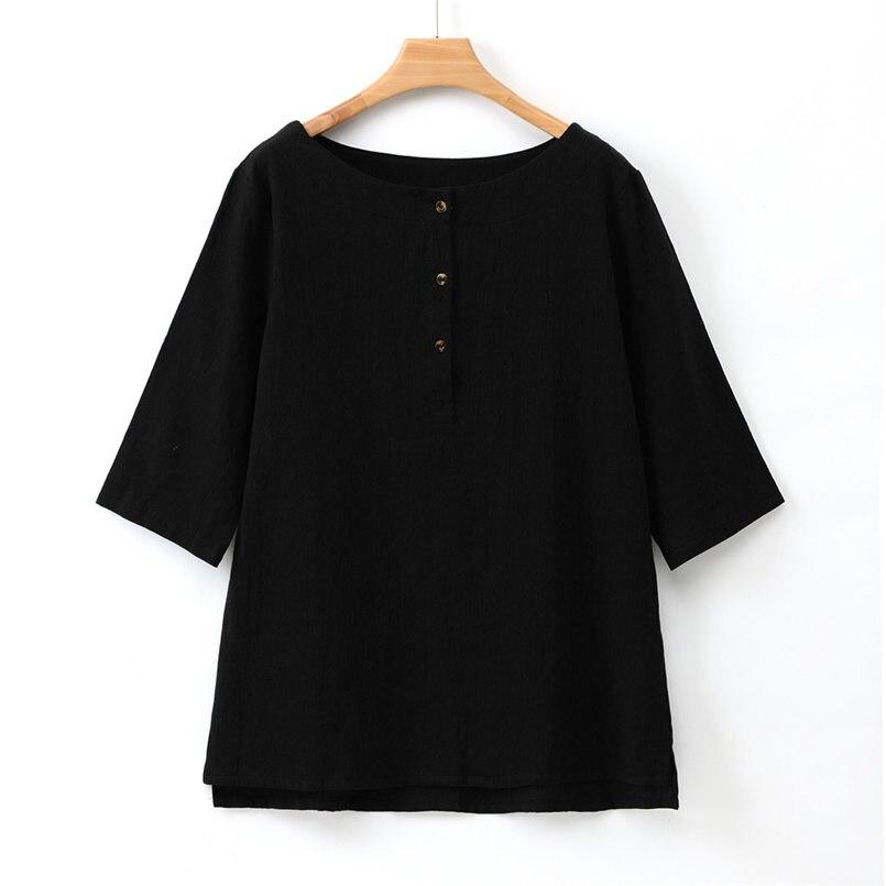 Nueva blusa tipo túnica Jacquard de algodón de talla grande con cuello redondo alto y lino de talla grande para mujer #4R03