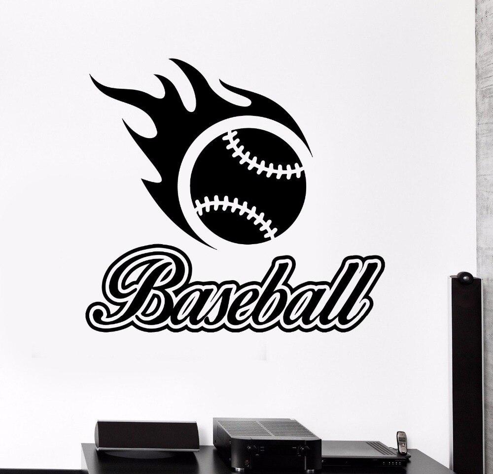 Cartel removible de vinilo para decoración de habitación o deportes de béisbol, pegatina de bola deportiva para decoración de pared, decoración LX219