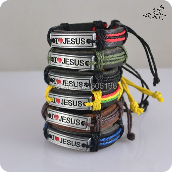 NEW 60pcs/lot MIX Color I Love JESUS Bracelets Leather Alloy ID Bracelet  Fashion Catholic Christian Religious Jewelry