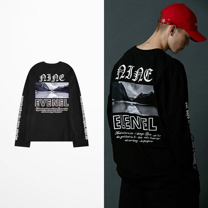 Camisetas estampadas con letras góticas, camisetas de marca coreana Retro Tide, camisetas de hombre de manga larga, Skateboard Hip Hop, camiseta de calle alta, camiseta Kpop