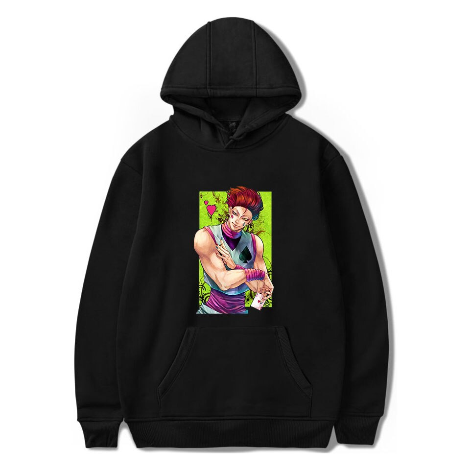 hisoka Print Hoodies Men Trendy Cotton Black Keep warm HxH Hisoka Hoodie Cool Men's Streetwear
