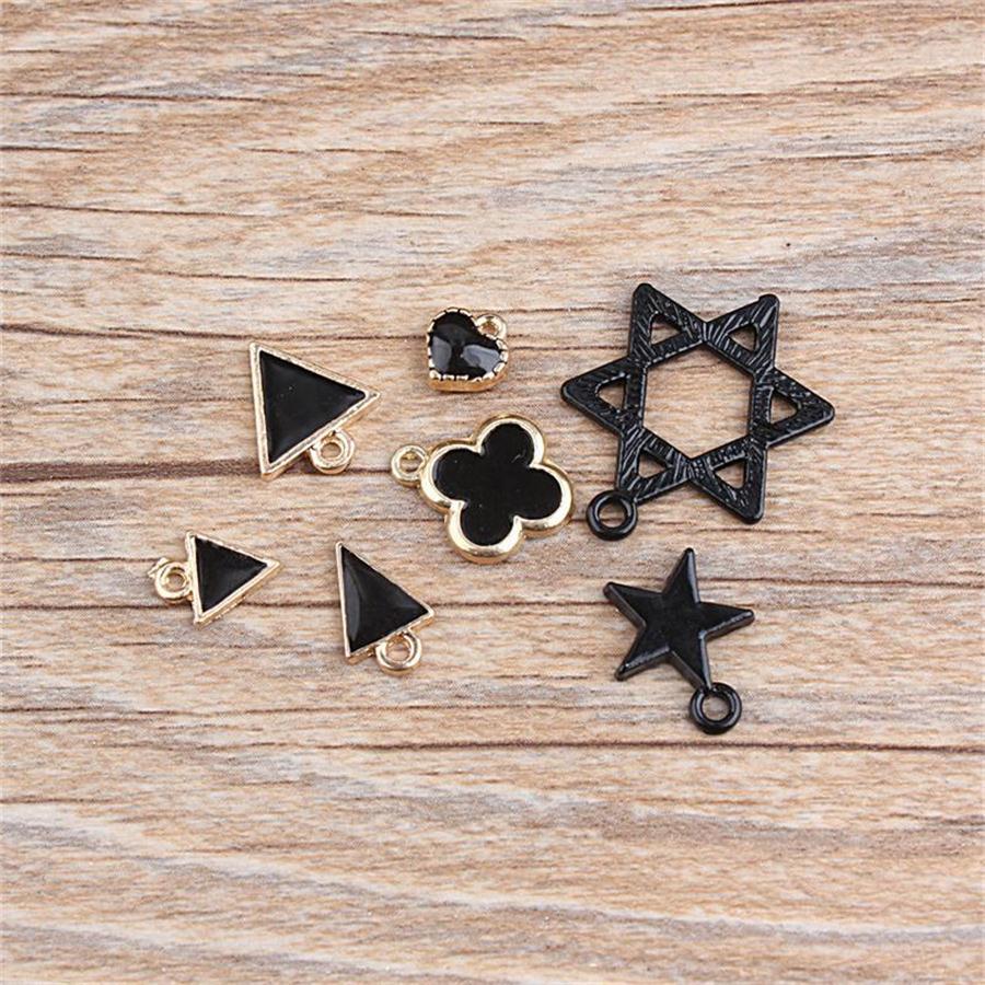 7pcs/lot Hot Sale High quality 7 Design Black Alloy Charms Triangle Heart Clover Star Hexagram Charms Necklace Bracelet pendants