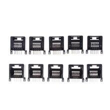 10 adet RJ45 8P8C siyah bilgisayar İnternet ağ PCB Jack soket