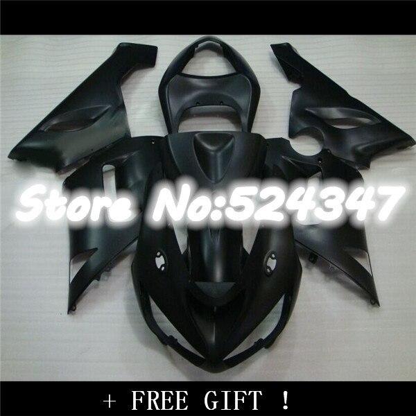Carenados ABS para Kawasaki ZX6R 636 05 06 2005 2006 Moto Plastics Ninja ZX-6R kits de carenado completo carenado negro brillante adhesivos plateados