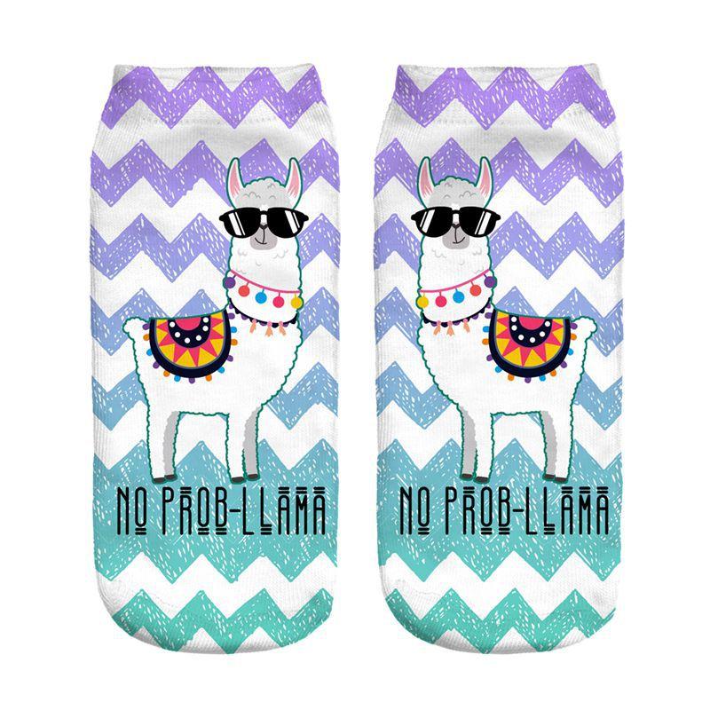 NO PROB Glasses Llama New Hot Women Hosiery Printing Socks Girl Funny Meias Low Cut Ankle Sock Calcetines Christmas Gift Socks
