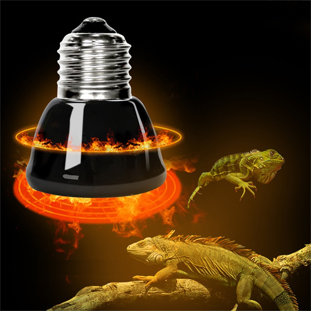 Lámpara de calefacción para mascotas E27, emisor de cerámica infrarrojo negro, Bombilla de calor para pollos y pollos, lámpara para reptiles 25W 50W 75W 100W 220-240V