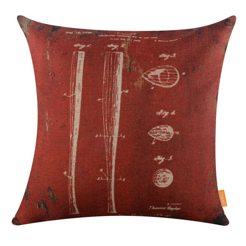 "LINKWELL 18x18 ""Retro rojo oscuro bate de béisbol patente dibujos funda de cojín lanzar funda de almohada acento antiguo amor deportes"