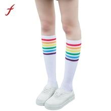 feitong 2018 New Fashion 1 Pairs Thigh High stockings Over Knee Rainbow Stripe Girls stockings Black White Vintage Stockings