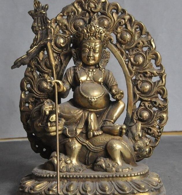 Tibet, budismo Fane de bronce en bestia Mahakala amarillo jambhala Buddha Dios estatua