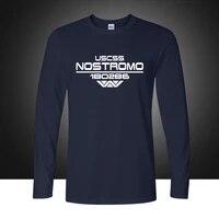 autumn uscss nostromo print t shirt cotton alien weyland yutani t shirt mens long sleeve tees tops plus size