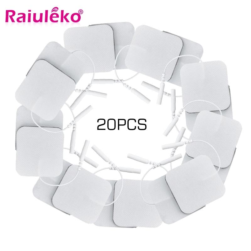 10/20 piezas auto adhesivo de almohadillas de electrodos Tens 5*5 Cm Estimulador Muscular Eléctrica máquina Digital masajeador para enchufe de 2mm