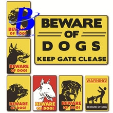 Placas Decorativas Metalicas Vintage Beware of Dog!  Tuinposter Buiten Labradoodle Caution Dogs  Size:20*30cm
