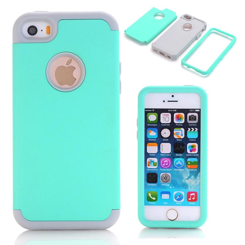 Funda híbrida de silicona dura y suave 3 en 1 para Apple iPhone 5/5S/5C/SE Armor carcasas de teléfono + película protectora de pantalla