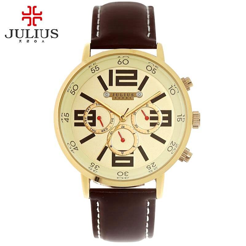 Julius homme relógio de pulso masculino moda horas vestido esporte retro pulseira couro estudante menino aniversário natal presente do pai