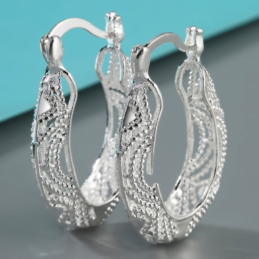Gift Big Women 1Pair Circle Silver Plated Hoop Wedding Earrings Clip Girl Ear Chic