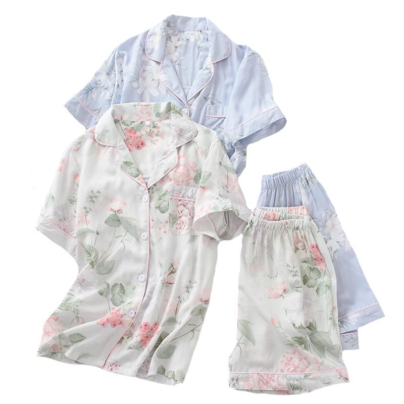 2Pcs Pajamas Set Women Simple Style Sleepwear 2019 Summer New Floral Printed Turn-down Collar Top+Shorts Comfort Homewear Set