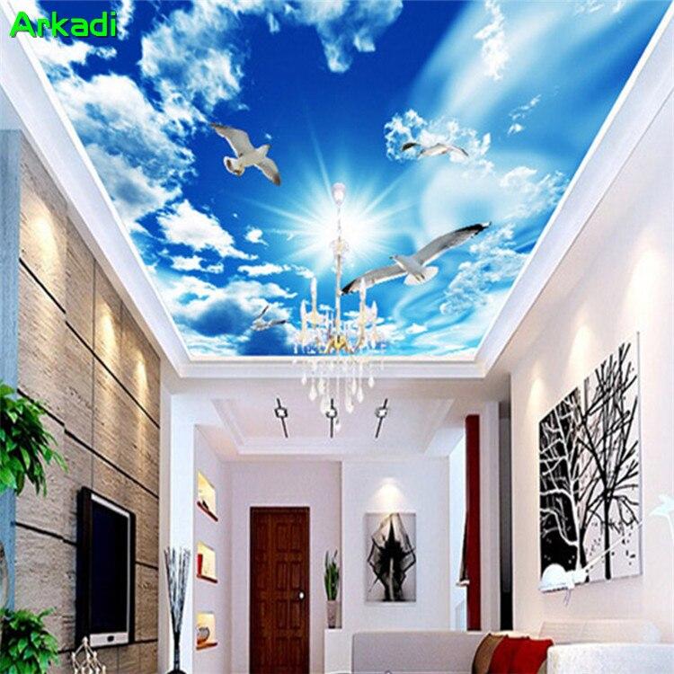 Papel tapiz Mural 3D personalizado nubes azules del cielo gaviotas techos paisaje Natural fotos techo CENIT papel tapiz