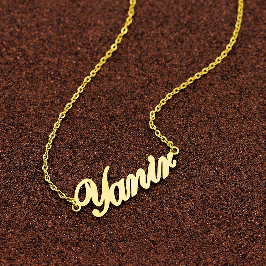 Personalizado de acero inoxidable de moda gargantilla oro nombre personalizado collar joyas personalizadas a mano colgante con placa con nombre regalo de las mujeres