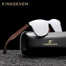 KINGSEVEN 2019 Luxury Walnut Wood Sunglasses Polarized Wooden Brand Designer Rimless Mirrored Square