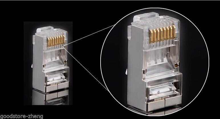 100 unids/lote AMP, cristal de alta calidad blindado, Conector de clavija modular CAT6 RJ45