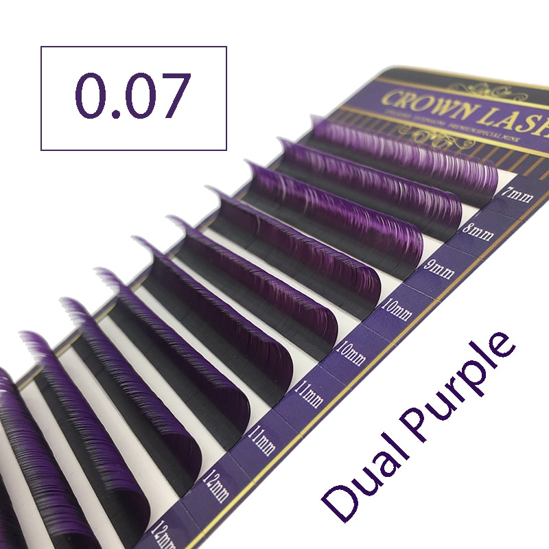 CrownLash 2 Tono de Color púrpura Ombre C D-0.07 7-15mm de doble Color púrpura volumen pestañas extensión
