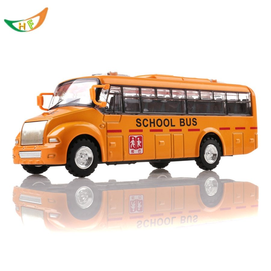 Alloy bus toy long metal yellow school bus car acoustooptical model toy kids birthday  present