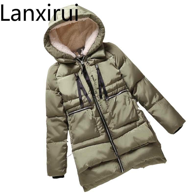 Jaqueta de inverno feminina nova europa estilo moda solto casaco feminino médio longo plus size parque jaquetas para as mulheres quente f828