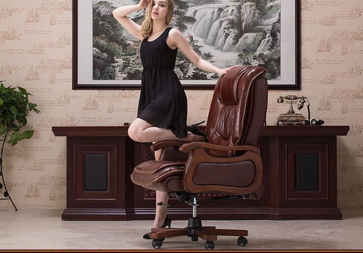 Boss chair leather computer chair home massage reclining leather executive chair solid wood armrest office chair. leather computer chair household office chair office stool long sitting chair solid wood boss chair lying massage