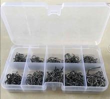 SEWS Set 500Pcs Black Silver Fly Coarse Fishing Worm Hook Bait Box 10Sizes 3#-12# Hot Sale Drop Shipping