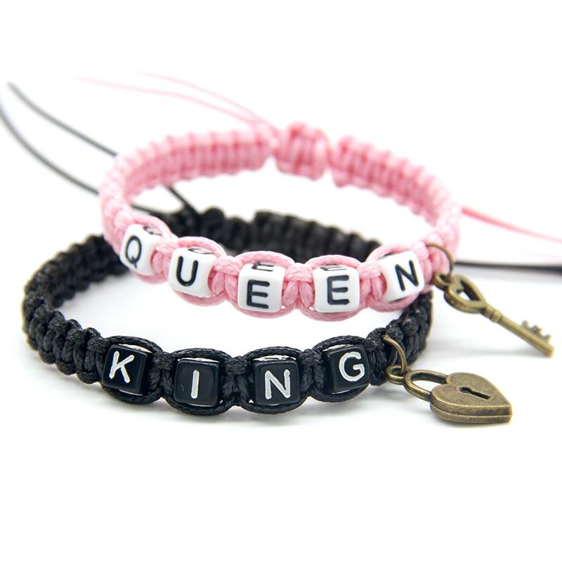 2 pcs/par casal pulseiras bonito preto rosa beadeds rei rainha com chave de bloqueio corda cadeias amantes presente artesanal charme pulseiras