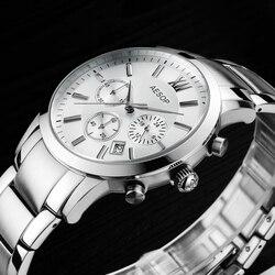 Aesop safira relógio de cristal dos homens do esporte quartzo cronômetro relógio de pulso data automática couro masculino relogio masculino hodinky novo 46