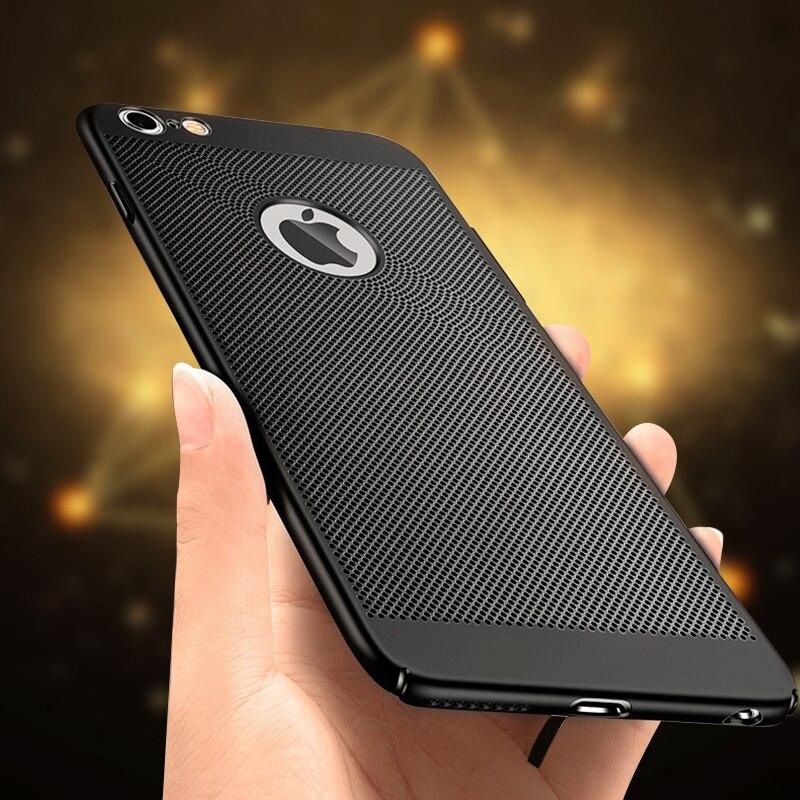 Hard PC funda para iPhone 7 6X8 6s Plus 5 5S SE plástico cubierta de carcasas para disipar el calor para iPhone X 8 10 Shell protector