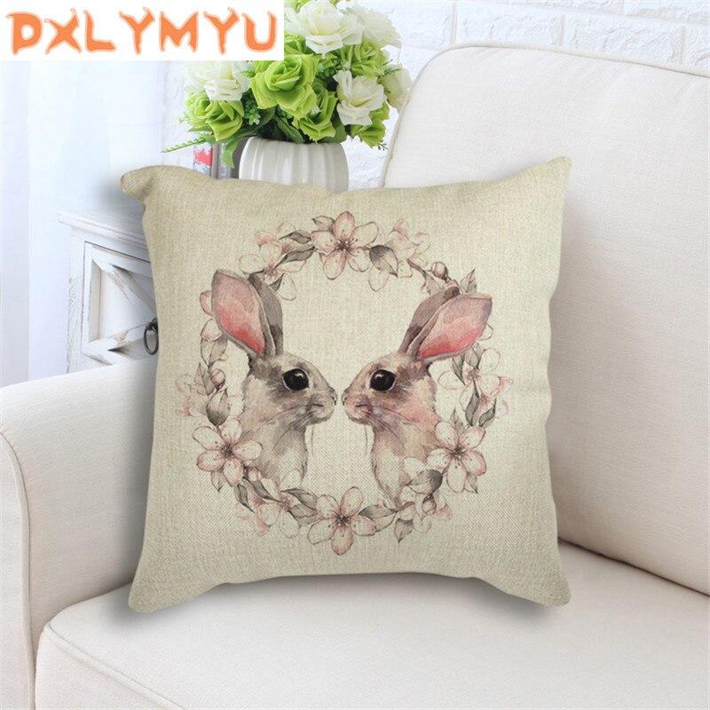Kawaii Animal conejo gato guardería cojín decorativo tiro almohada 45x45 cm para sofá hogar Decoración asiento cojín de lino regalo de los niños