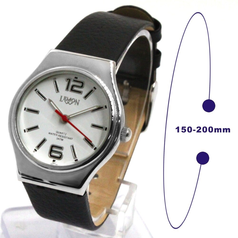 Black Geninue Leather Band Unisex Analog Quartz Round Wrist Watch Japan Miyota Movement White Dial Water Resistant enlarge