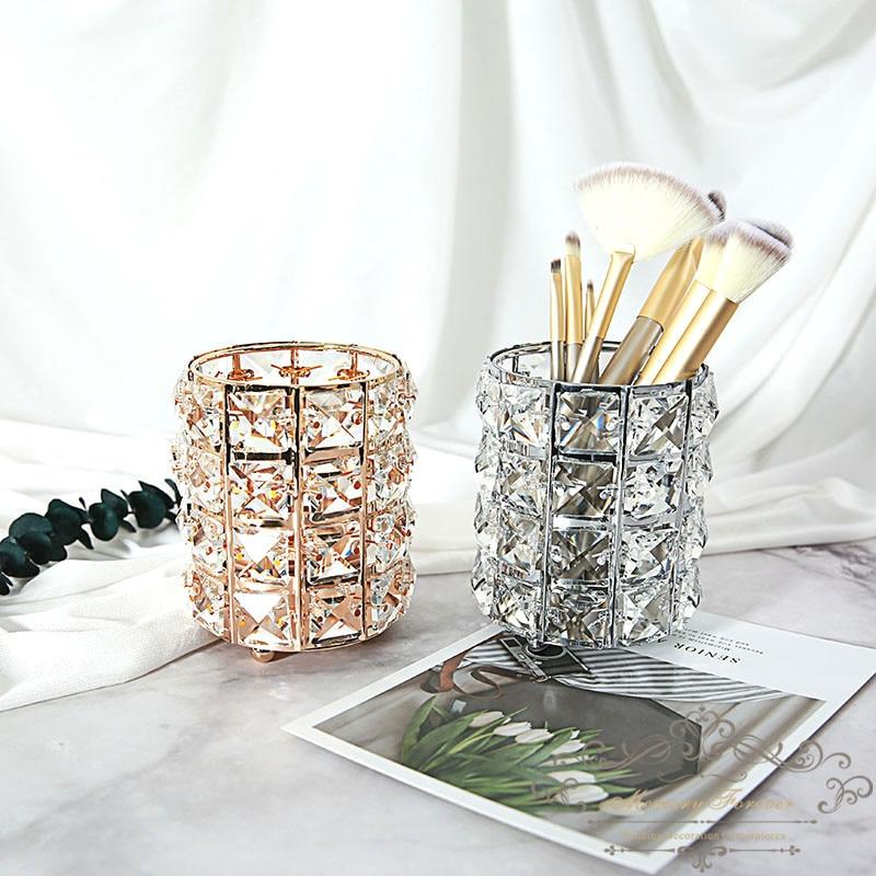 Soporte de vela de cristal de boda de plata dorada MESA CENTRO DE MESA candelabro decorativo soporte de cilindro de candelabro