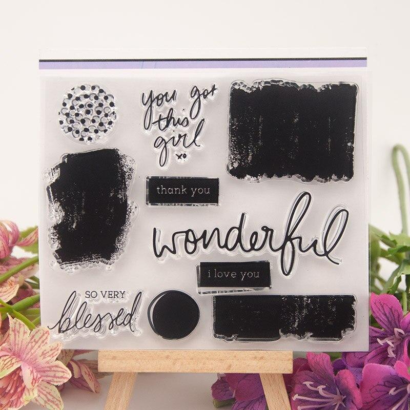 Wonderful Words Black Block sello de silicona transparente para sellar álbum para recortes de fotos hojas de sellos transparentes decorativas