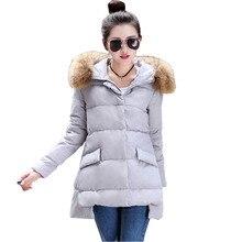 2017 womens winter jackets  Korean version new winter coat and long sections  fashion  fur collar winter coats vestidos BD055
