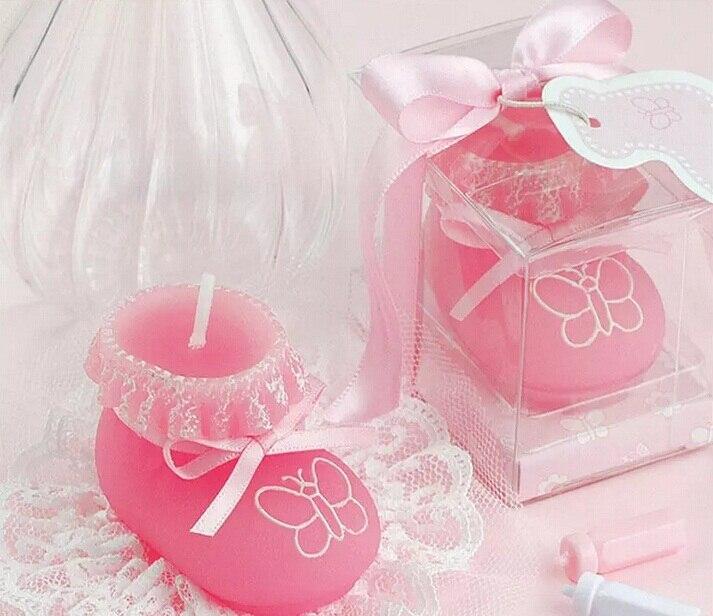 10 pcs Rosa Sapato Meia Vela Casamento Lembranças Presentes de Aniversário Do Chuveiro de Bebê Favor Embalado com caixa