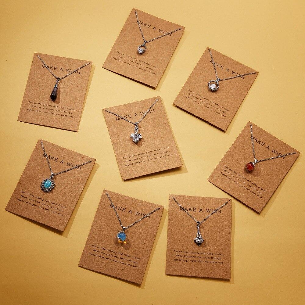Женское Ожерелье-подвеска в виде капель воды Rinhoo, 7,5*10 см, из бумаги с надписью «Wish», «dolphin», из натурального камня, геометрическая форма, подарок