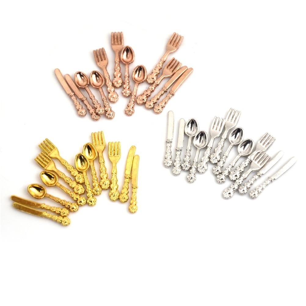 12PCS/set(4PCS Fork+4PCS Knife+4PCS Soup Spoon) Tableware for 112 Dollhouse Miniature Accessories Kitchen Food Furniture Toys