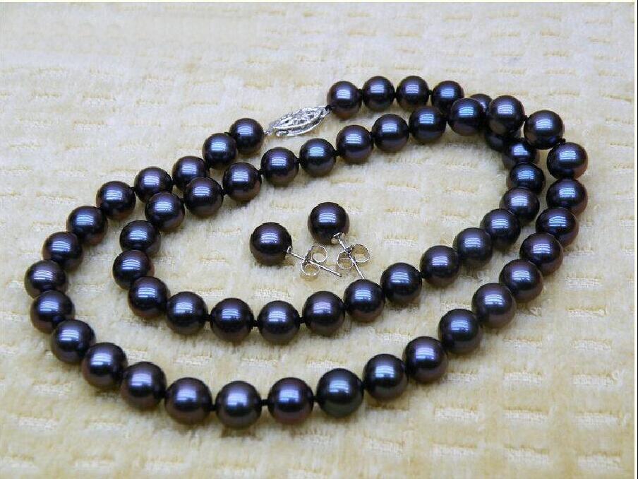 Caliente 9-10 MM TAHITIAN negro Mar del Sur AAA + perla collar pendiente 925 Plata Blanco 18 I