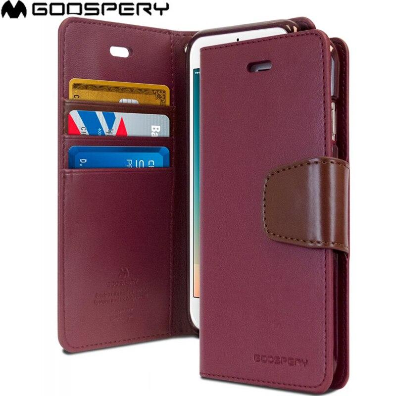 Goospery original Sonata Diary Flip Funda de cuero con ranura para tarjetas para iPhone 7 De Apple 8 plus X XR Xs Max 11 PRO MAX