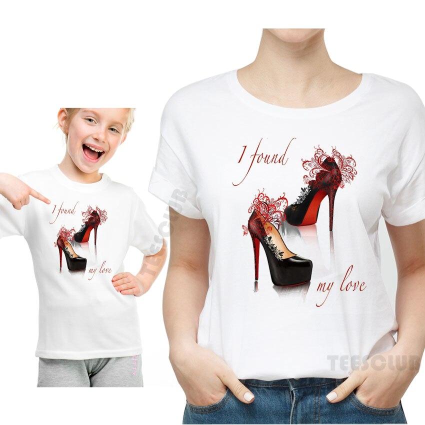 Nueva camiseta de verano Tops mamá e hija camiseta ropa rojo tacones altos I Found, camiseta de manga corta informal con estampado de letras I love