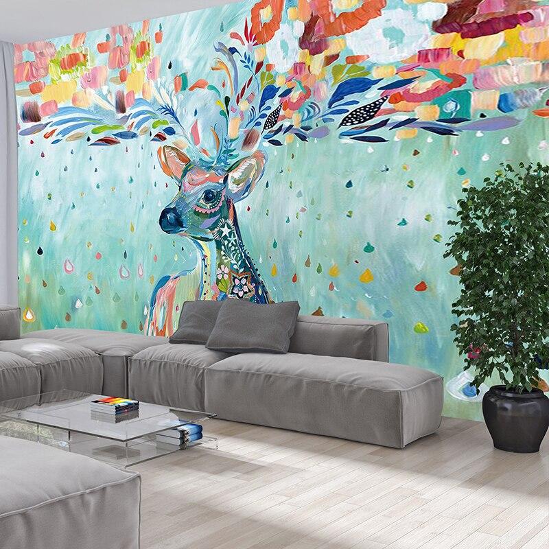 Papel pintado de pared de papel pintado para sala de estar y dormitorio con Fondo de Televisión Simple europeo de Grandes murales de alce de Color personalizado