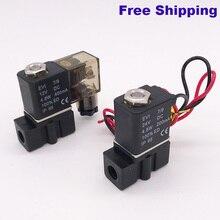 2 way Pneumatic plastic mini solenoid valve 2P025-06/08 Port 1/8 1/4 NPT 110V 220V NBR wire lead type electric control valve