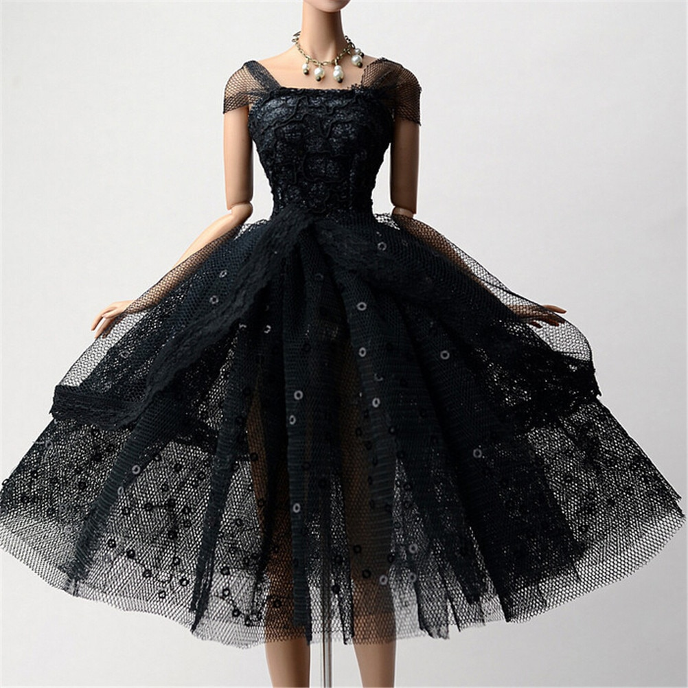 1PC Elegant Doll Dresses Lady Black Little Dress Evening Dress Clothes For Barbie Dolls For 1/6 BJD Doll Gift Doll Accessories