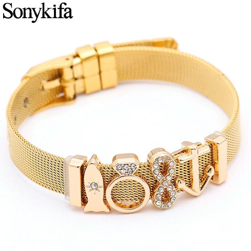 Stainless Steel Mesh Bracelet Set Gold Love Heart Charm Pandoro Bracelet Bangle For Anniversary Woman Jewelry  Gift Dropshipping