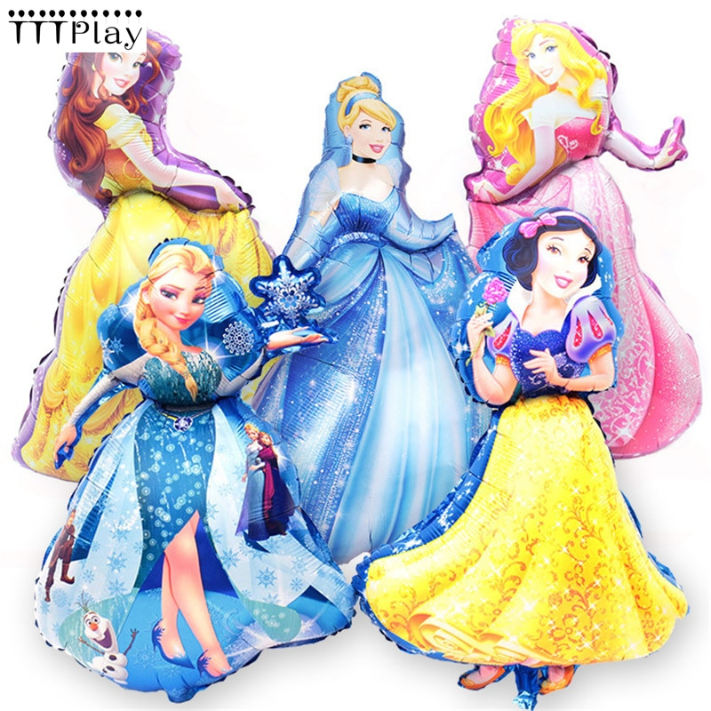 5 шт./лот, большие шары из фольги в стиле «Золушка», «Аврора», «Belle», «Белоснежка», «Эльза», «5», украшения для детской вечеринки на день рождения