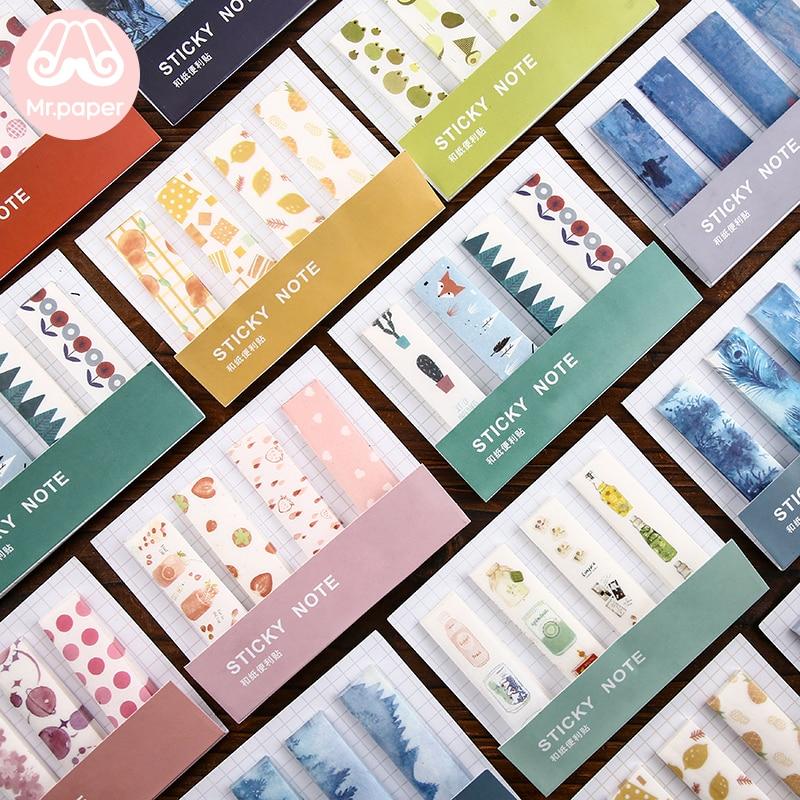 Mr Papier 80 teile/los 12 Designs Ins Stil Frische Memo Pad Sticky Notes Nehmen-weg Band mit Release Papier selbst-Stick Hinweis Memo Pads