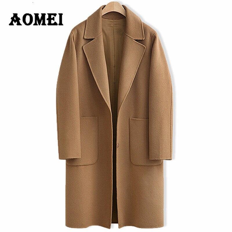 Moda feminina casual casacos de lã oversize inverno moda wear para o trabalho escritório senhora lã mistura outwear roupas casaco